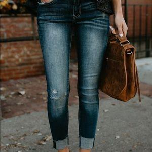Denim - •cuffed skinnies dark wash• size L waist 28/9 •NWT